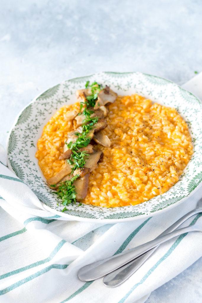 risotto zucca gialla e funghi porcini