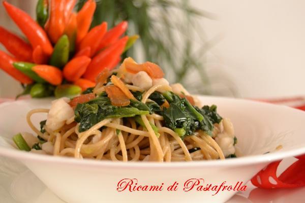 Spaghetti integrali con spinaci coda di rospo e bottargarimo piatto pesce_spaghetti ricette