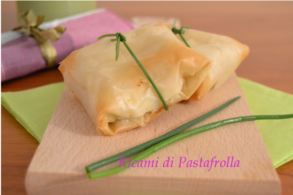 Fagottini_pasta fillo_roctta_porri_antipasti_finger food
