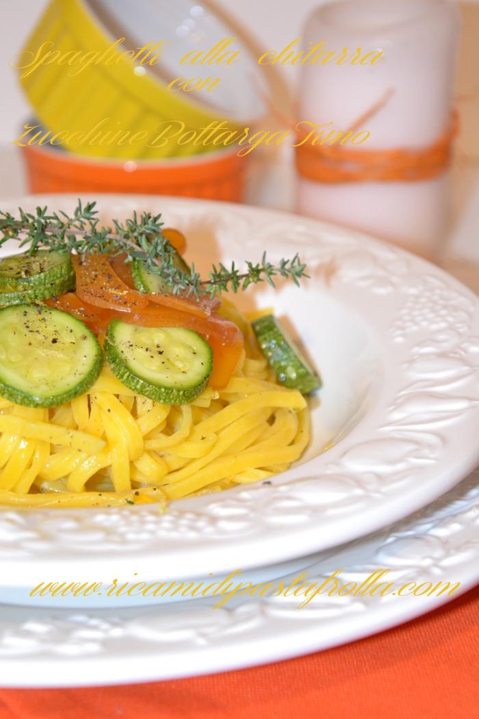 Spaghetti alla chitarra con zucchine bottarga timo e limone