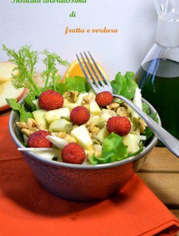 insalata olio nuovo, frutta e verdura, insalata mista, ricetta vegan, detox, magiare sano,