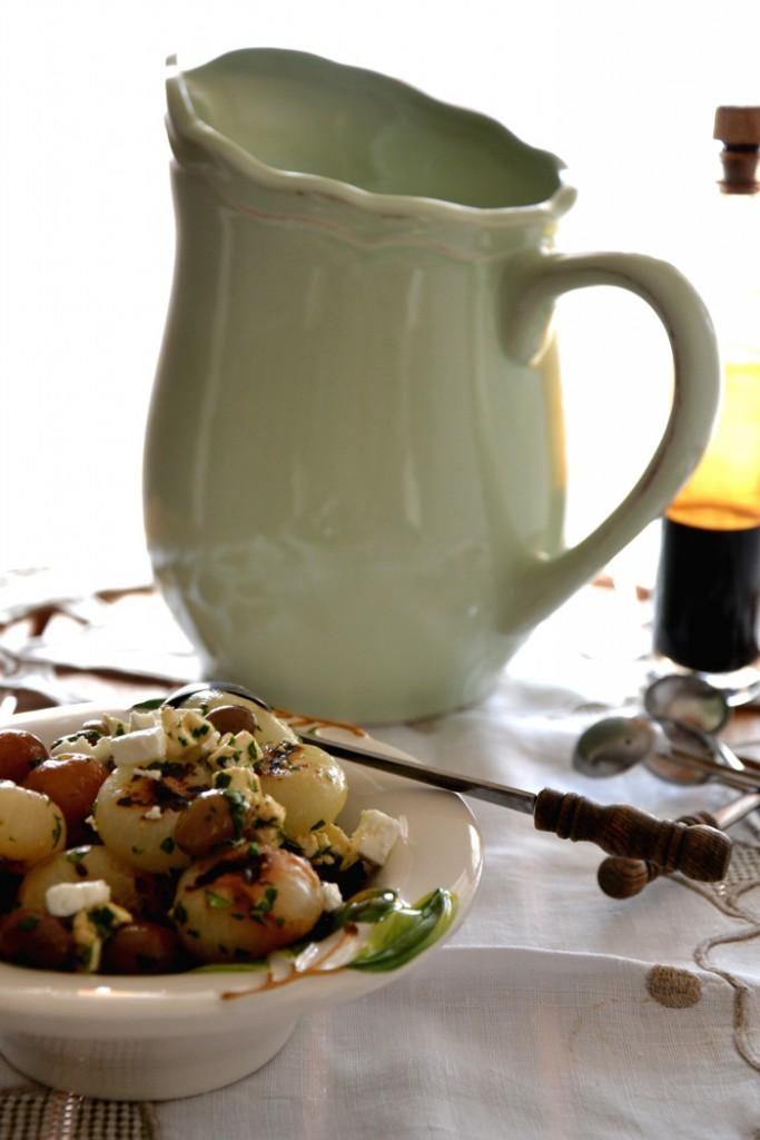 cipolline agrodolce, olive taggiasche, feta, ricetta verdure
