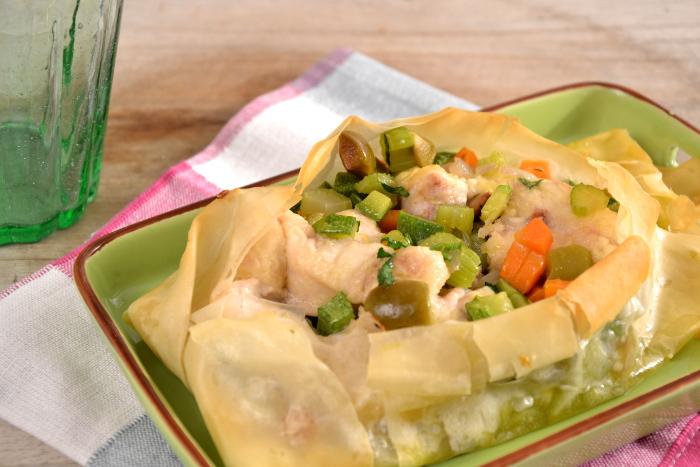 Palombo e verdure al forno in carta fillo