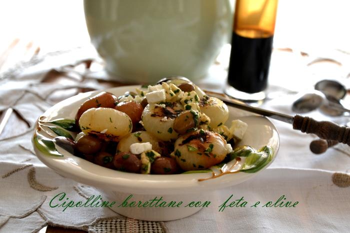 Cipolline borettane in agrodolce con feta e olive