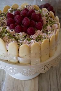 cheesecake, lamponi e cioccolato, dolce,