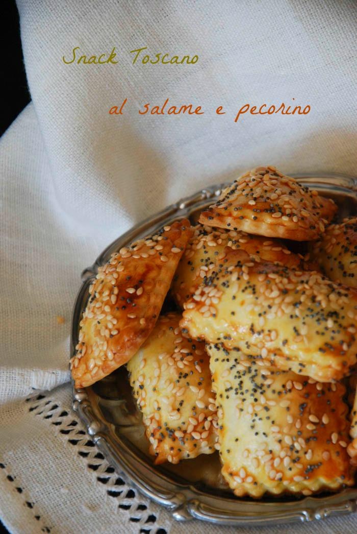 snack salato, antipasto, aperitivo, finger food, salame toscano, pecorino,