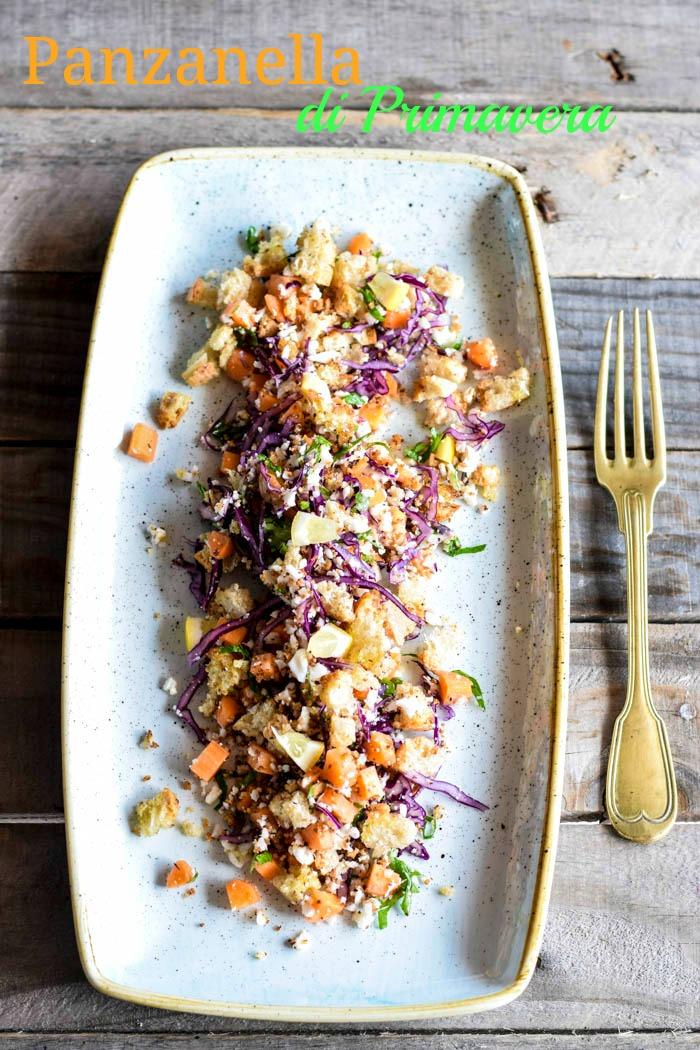 panzanella verdure invernali, insalata cavolo viola, ricette light, detox, vegan