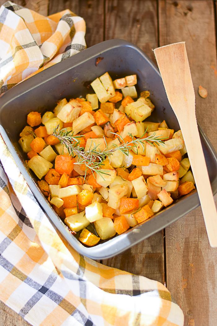 zucca al forno con patate e rosmarino
