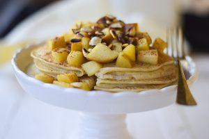 crepes, light, mele, vegan, ricami di pastafrolla,
