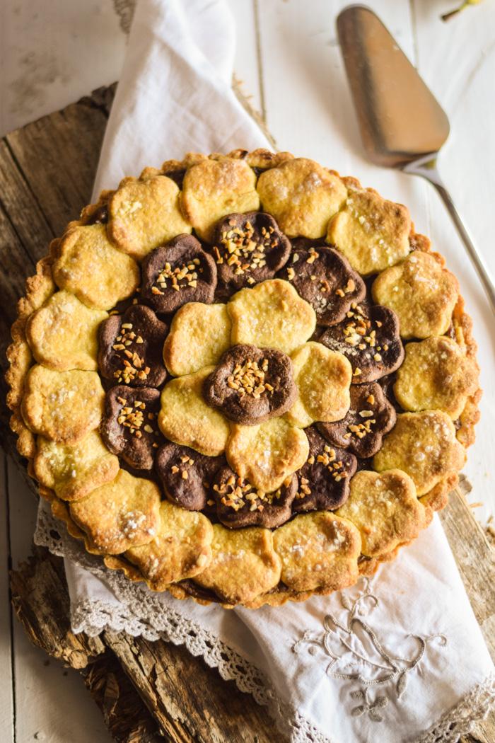 torta del nonno, crema al cioccolato,crostata, crostata crema al cioccolato, dolci da dispensa