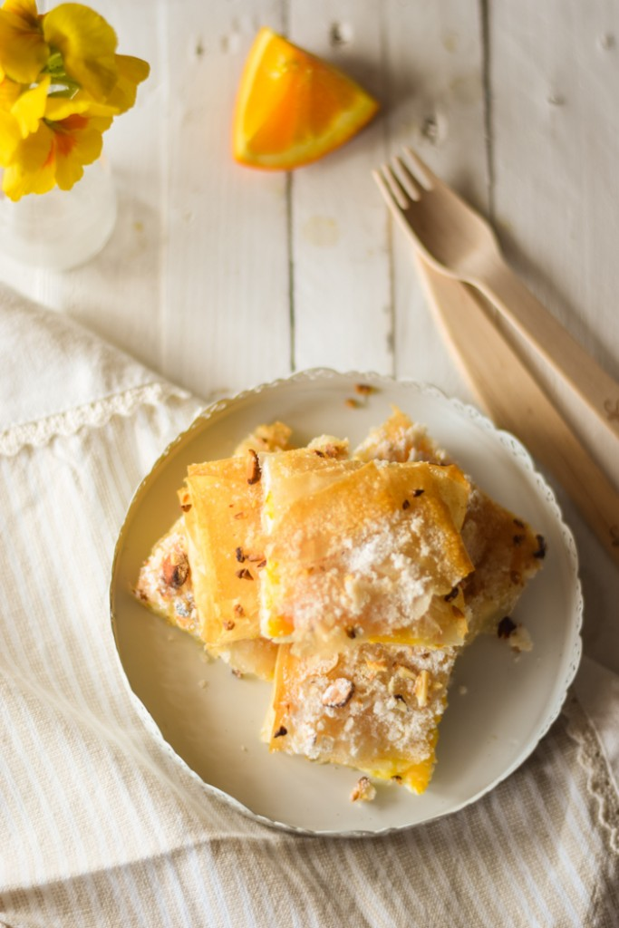 Pasta fillo con ripieno di arance caramellate