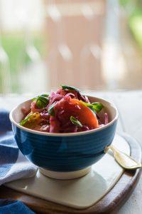 ricetta insalata pomodori, ricette cipolle, cipolle rosse Tropea, ricette cipolle rosse