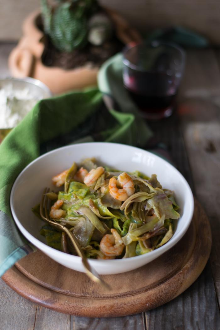 tagliatelle, pasta fatta in casa, spinaci, primi, pesce, carciofi, cena