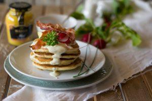 maille, ricette senape, brunch, pancake, pancake salati, ricami di pastafrolla