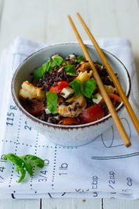 riso venere, gamberetti, ricetta estiva, light, detox, ricami di pastafrolla, primi piatti freddi