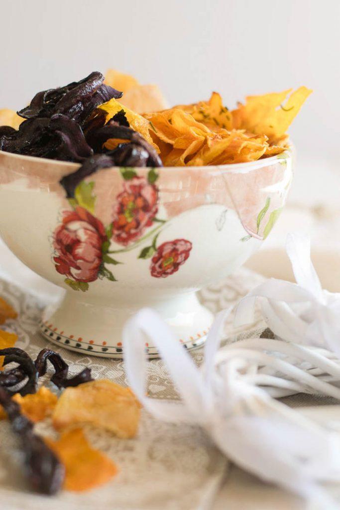 chips di verdure al forno croccanti e asciutte