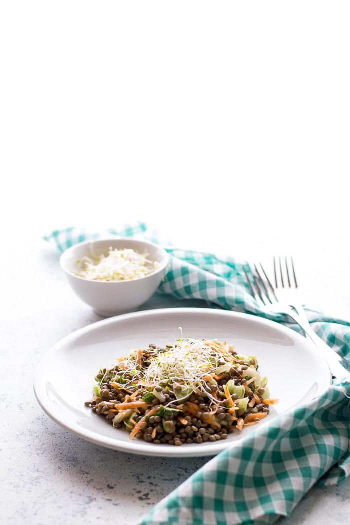 Insalata di lenticchie con carote sedano e cetriolo, profumata con il basilico