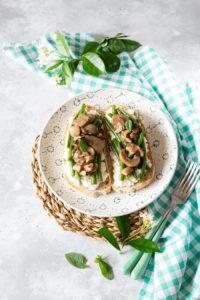 bruschetta funghi e fagiolini